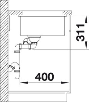 BLANCO SUBLINE 350/150-U CERAMIQUE BLANC CRISTAL