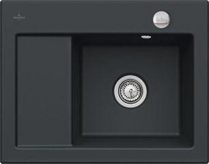 Villeroy & Boch - Subway Compact - Evier à encastrer Villeroy & Boch 1 bac, 1 égouttoir coloris Ebon