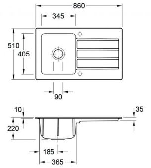 Villeroy & Boch - Architectura - Evier à encastrer Villeroy & Boch 1 bac coloris Timber