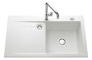 LUISINA - Luisiceram - Élégance - Evier à encastrer Luisina 1 grand bac, 1 égouttoir coloris Blanc B