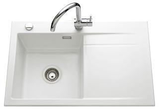 LUISINA - Luisiceram - Élégance - Evier à encastrer Luisina 1 bac, 1 égouttoir coloris Blanc Brillan