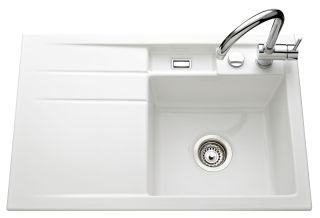 LUISINA - Luisiceram - Trésor - Evier à encastrer Luisina 1 bac, 1 égouttoir coloris Blanc Brillant