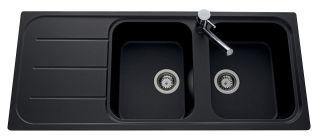 LUISINA - Luisigranit - Fugue - Evier à encastrer Luisina 2 bacs, 1 égouttoir coloris Full Black