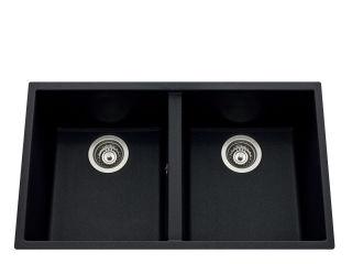 LUISINA - Luisigranit - Quadrille - Cuve sous-plan Luisina 2 bacs coloris Noirmetal