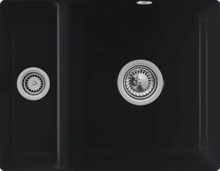 Villeroy & Boch - Subway XU - Cuve sous-plan Villeroy & Boch 1 bac, 1 vide-sauce coloris Ebony