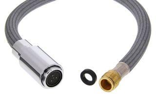Douchette chromé avec flexible complet MIDA-S HP KP, surface métallique, chromé, Haute pression