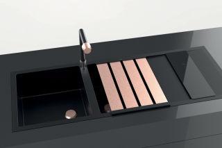 LUISINA - Duoline - Egouttoir rabattable L480 x l338 mm en finition cuivre et planche à découper en verre noir