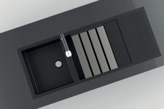 LUISINA - Duoline - Egouttoir rabattable L480 x l338 mm en Inox brossé et planche à découper en verre noir