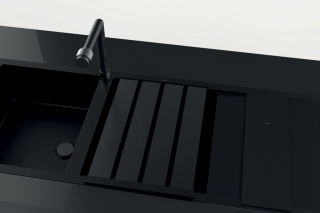 LUISINA - Duoline - Egouttoir rabattable L480 x l338 mm en finition noire et planche à découper en verre noir