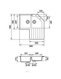 Évier d'angle Luisigranit, Croma - Luisina EV22431LC 022