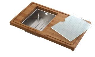 LUISINA - Planche en bambou avec vide sauce en inox et planche en verre additionnelle