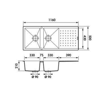 Évier Luisigranit Fusionstyl, Croma - Luisina EV8621 022