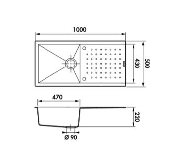 Évier Luisigranit Fusionstyl, Full Black - Luisina EV86011 219